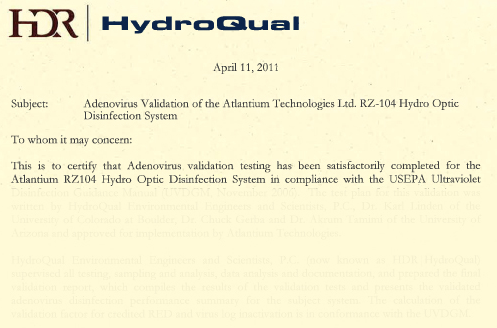 HDR Validation to EPA Standards UVDGM 2006
